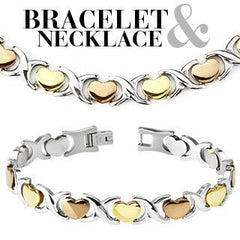 Hearts and Kisses Set - Gold and Rose Gold Tri-Color Stainless Steel Classic Set Of Bracelet and Necklace N-10028 and B-10051