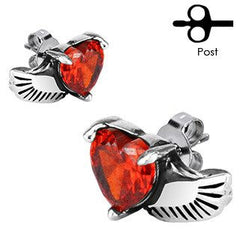 Wings of Love - Winged Red Cubic Zirconias Earrings Stainless Steel Simple Yet Elegant!