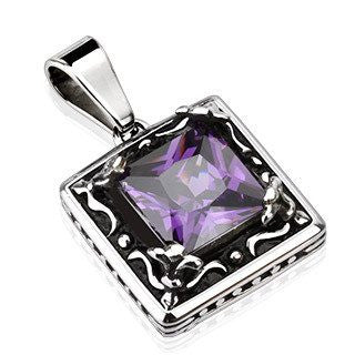 Deep Violet Pendant - Classic Style Black and Stainless Steel Pendant with Violet Cubic Zirconia