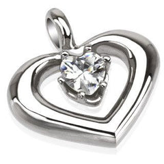 Passion - Heart Shaped Craftsmanship Beauty Stainless Steel Love Pendant with Cubic Zirconia