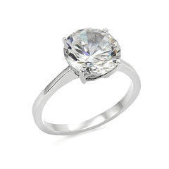 Adored - Women's Stainless Steel Solitaire 3.87 Carat CZ Ring