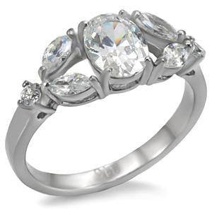 Steel Romance - Stainless Steel Engagement Ring with Multiple Shapes of Cubic Zirconia Stones
