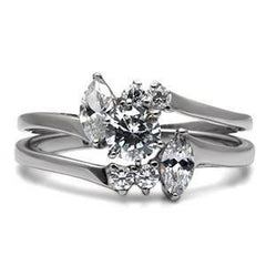 Love Story - Set Of Two Elegantly Crafted Stainless Steel Wedding Rings with Cubic Zirconia's