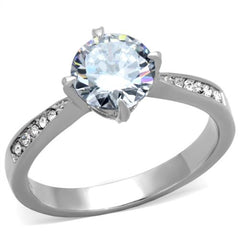 Dazzling Engagement - High Polished Stainless Steel Clear CZ Engagement Ring