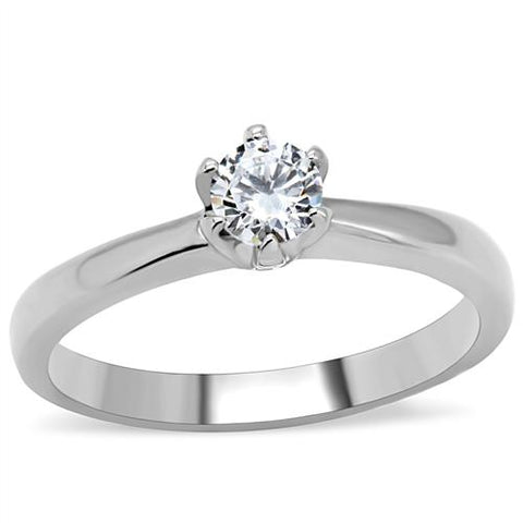 One and Only - Stainless Steel Clear Solitaire CZ Ring