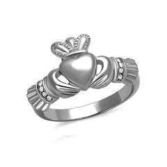 Sparkling Claddagh - Stainless Steel Traditional Irish Ring With CZ Stones