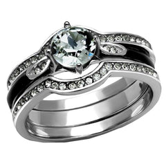 Strength In Love - Women's Stainless Steel Black And CZ Set of Rings