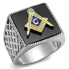 Masonic Jet Agate - Stainless Steel Agate Masonic Ring
