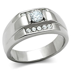 Tailored Gentleman - Men's Stainless Steel CZ Statement Ring