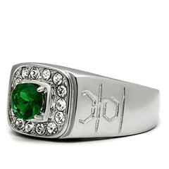 Lush King - Men's Stainless Steel Synthetic Emerald Glass Stone