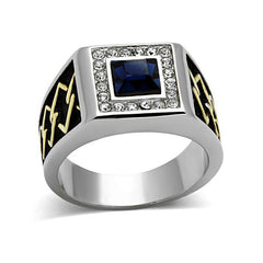 Valiant - Men's Stainless Steel Two-Tone IP Ring With Sapphire Colored Center Stone