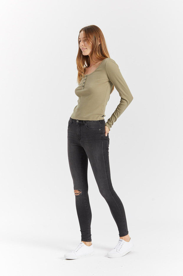 Toni Long Sleeve Green Agate - Dr Denim Jeans - Australia & NZ