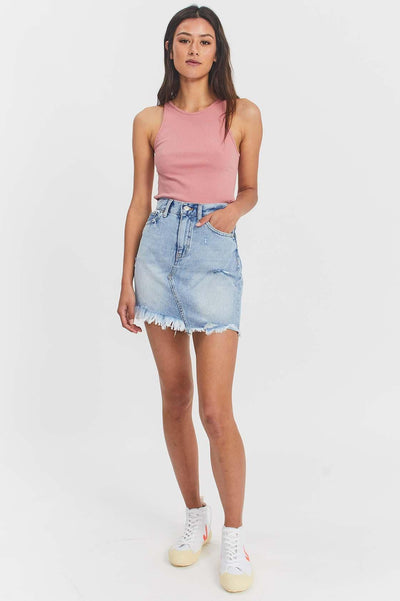 Sara Skirt Destiny Light Blue Ripped | Dr Denim Jeans Australia