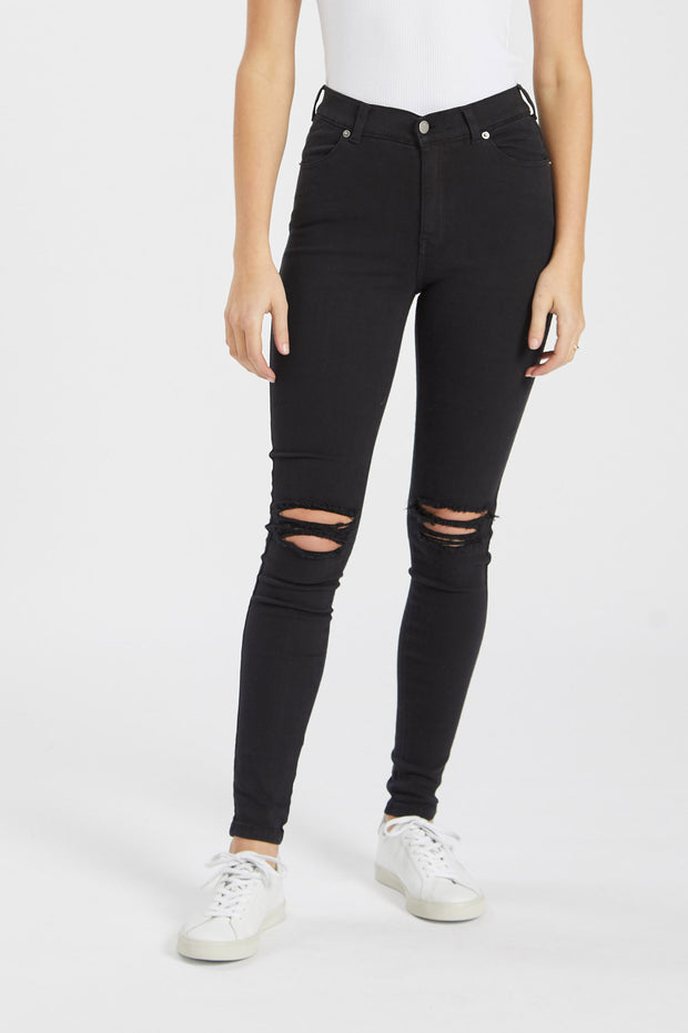 Lexy Jeans Black Ripped Knees - Dr Denim Jeans - Australia & NZ