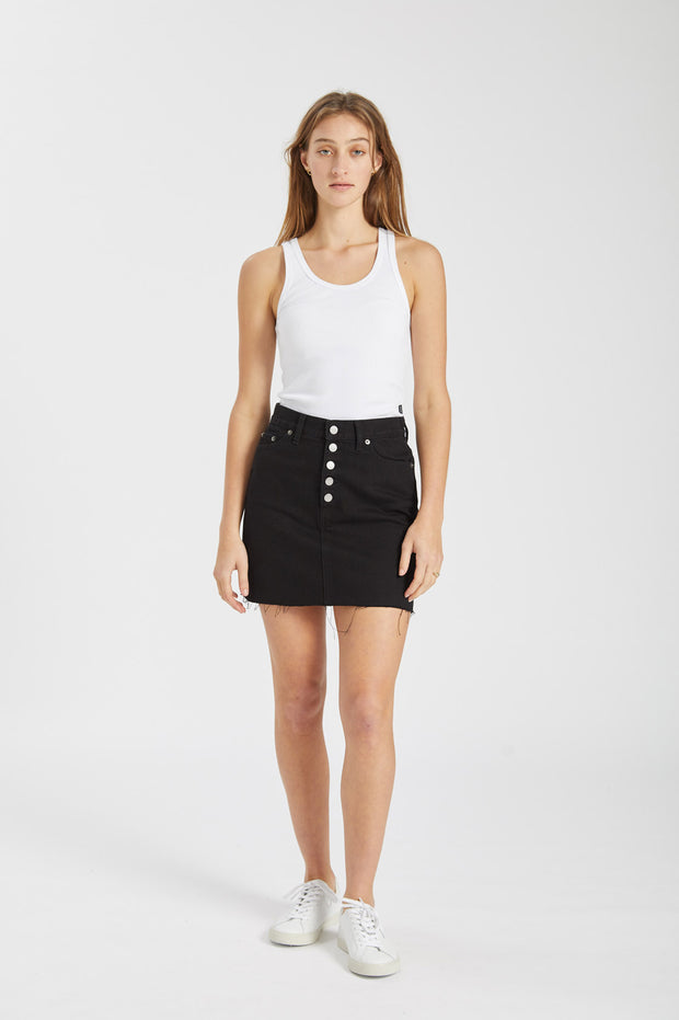 Mallory Skirt Black Button Fly