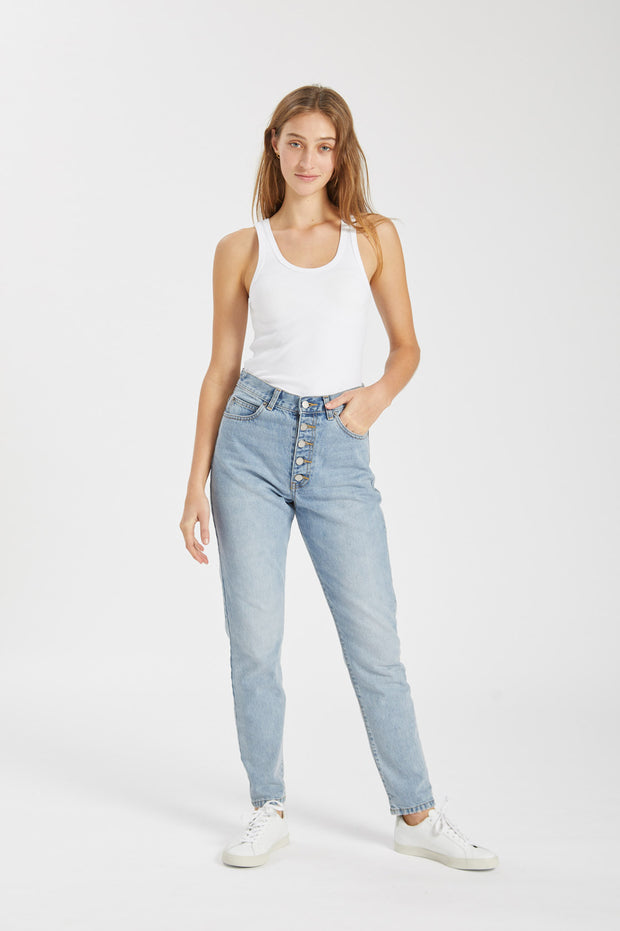 Nora Jeans Downtown Blue Button Fly
