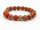 Brync Orange Rose Gold Men Women Beaded Bracelet