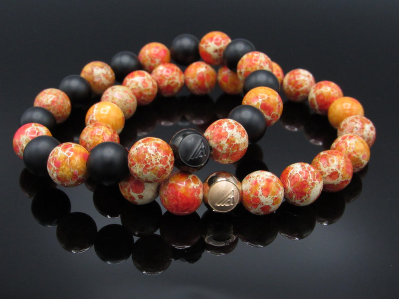 Brync Orange Rose Gold Black Men Women Beaded Bracelet