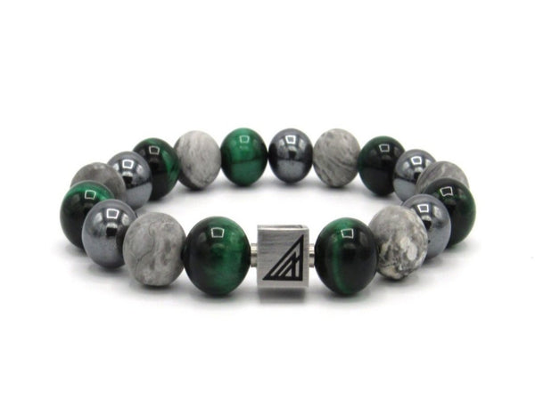 Brync Green Tiger Eye Hematite Men Women Beaded Bracelet