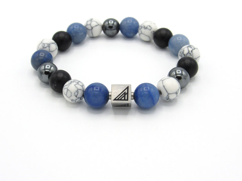 Brync Blue White Black Hematite Men Women Beaded Bracelets