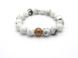 Brync White Howlite  Men Women Beaded Bracelet