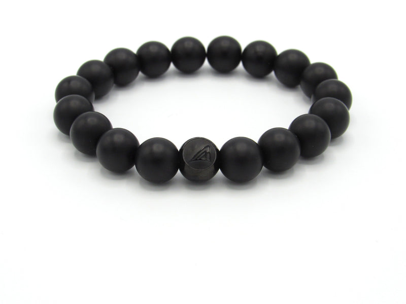 Brync Black Onyx  Matte Men Women Beaded Bracelet