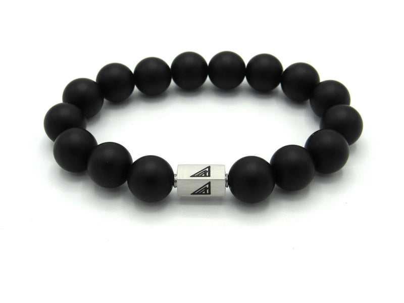 Brync Black matte large Men Women Beaded Bracelet