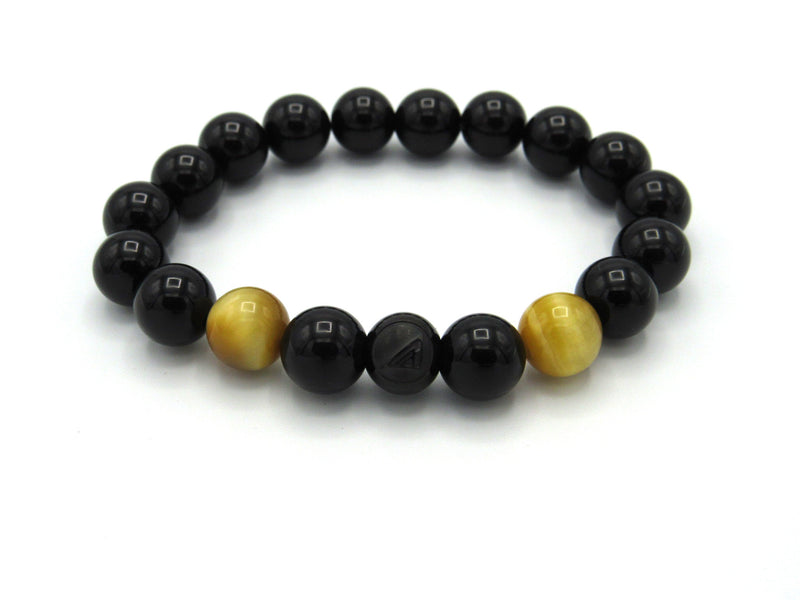 Brync Black Gold Tiger Eye  Men Women Beaded Bracelet