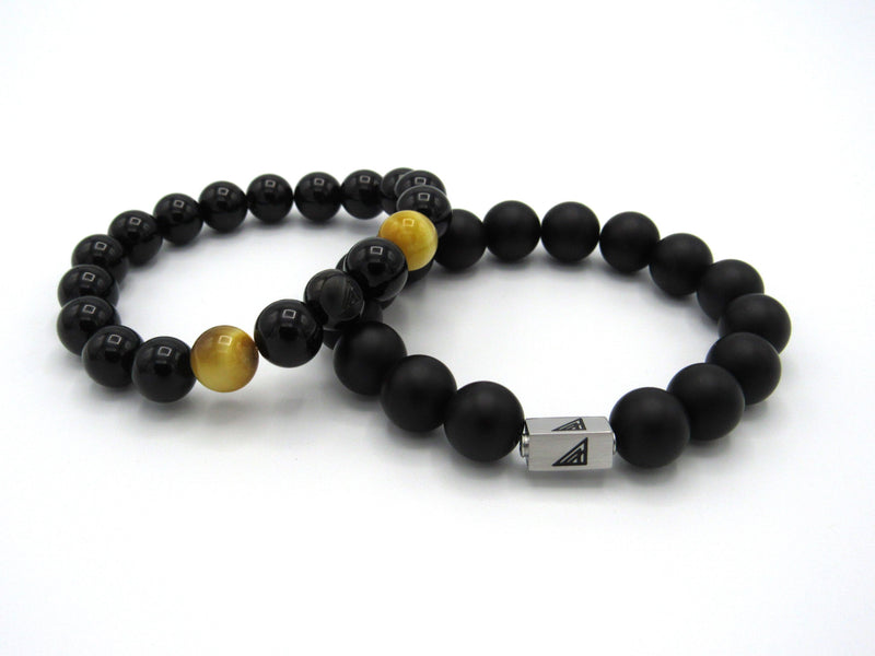 Brync Black matte  gold large Men Women Beaded Bracelet