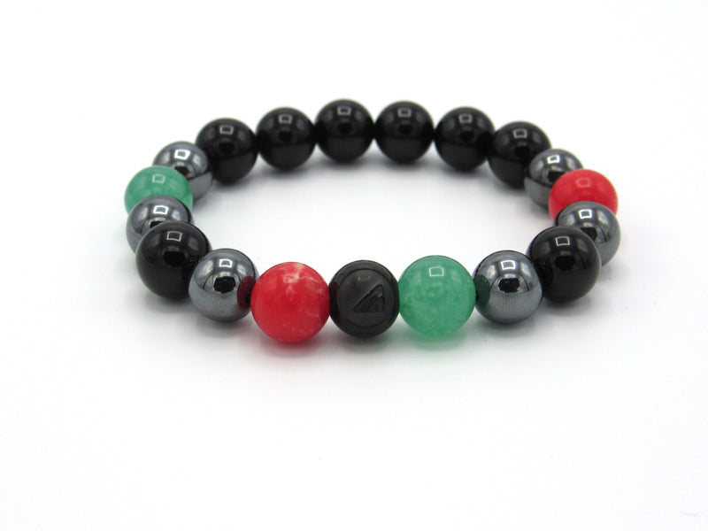Brync Black Red Green Hematite Men Women Beaded Bracelet