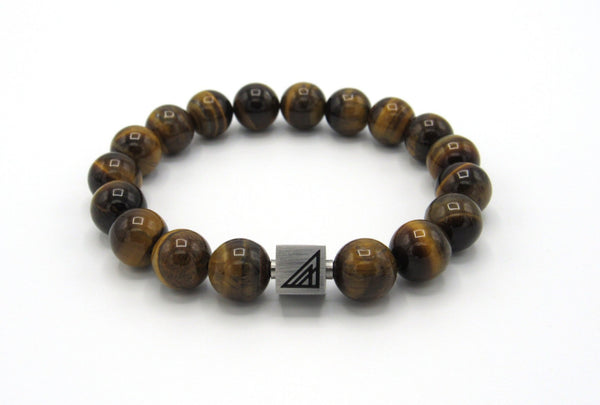 Brync Brown Tiger Eye  Men Women Beaded Bracelet