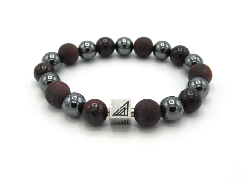 Brync Dark Red Black Burgundy Men Women Beaded Bracelet