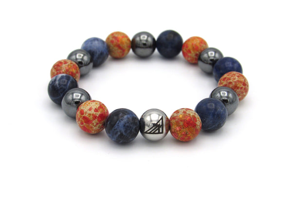 Brync Blue  Sodalite orange Men Women Beaded Bracelet