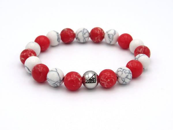 Brync Red White Peppermint  Men Women Beaded Bracelet Christmas Holiday