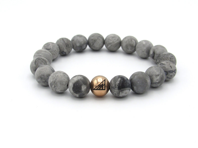 Brync Grey White Jasper Rose Gold Men Women Beaded Bracelet