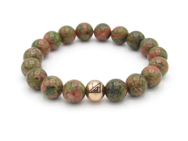 Brync Pink and Green Rose gold  Men Women Beaded Bracelet