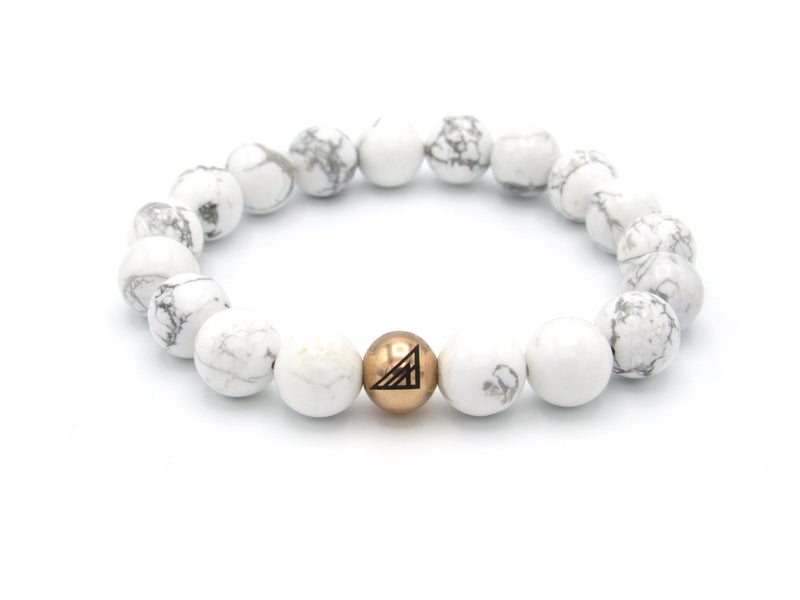 Brync White Howlite  Rose Gold Men Women Beaded Bracelet