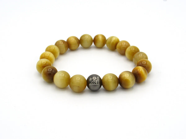 Brync Gold Tiger Eye Men Women Beaded Bracelet