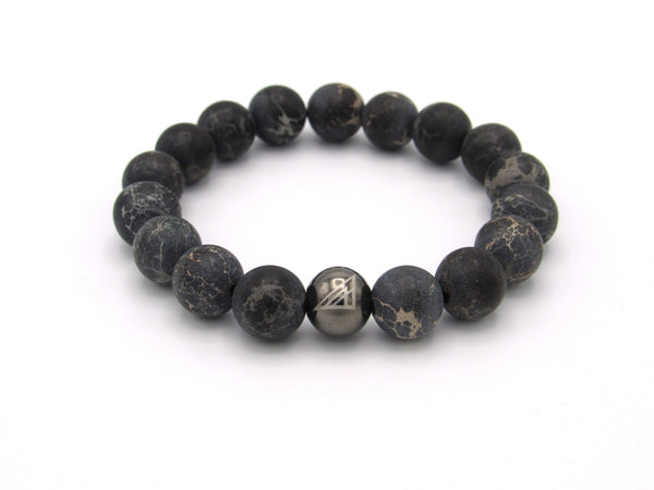 Brync Black Jasper  Men Women Beaded Bracelet