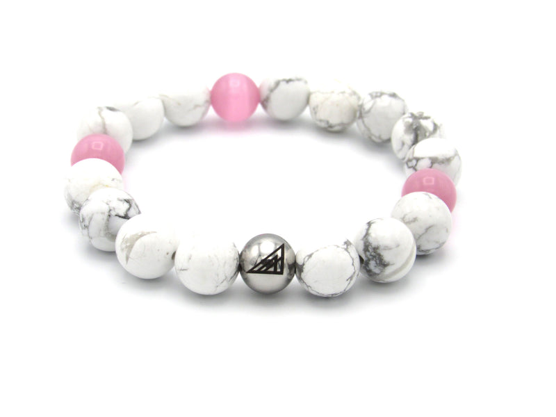 Brync Pink White Men Women Beaded Bracelet
