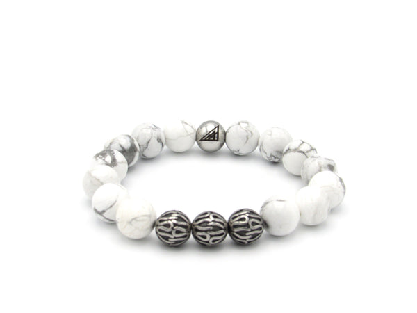 Brync White Howlite Stainless Steel Men Women Beaded Bracelet