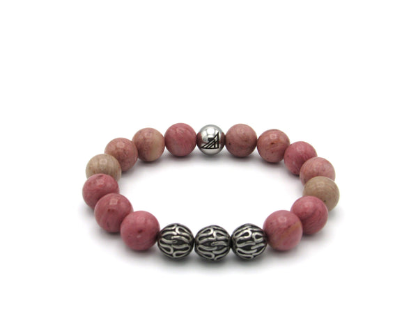 Brync Pink Stainless Steel  Men Women Beaded Bracelet Valentines Day