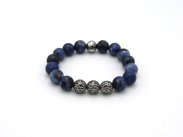 Brync Blue Stainless Steel Men Women Beaded Bracelet