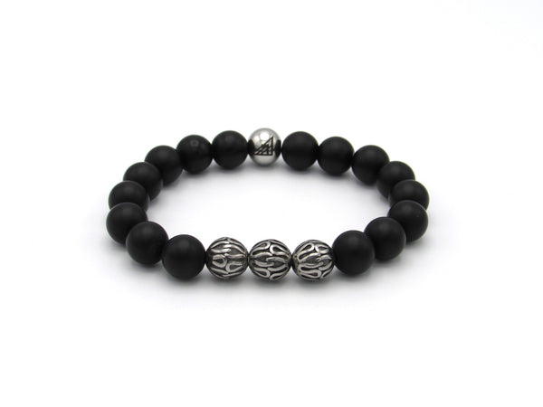 Brync Black Onyx  Stainless Steel Men Women Beaded Bracelet