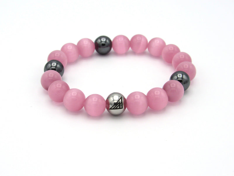 Brync Pink Hematite Men Women Beaded Bracelet Valentines Day