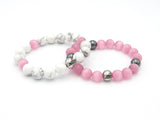 Brync Pink White Hematite Couples set his and hersMen Women Beaded Bracelet
