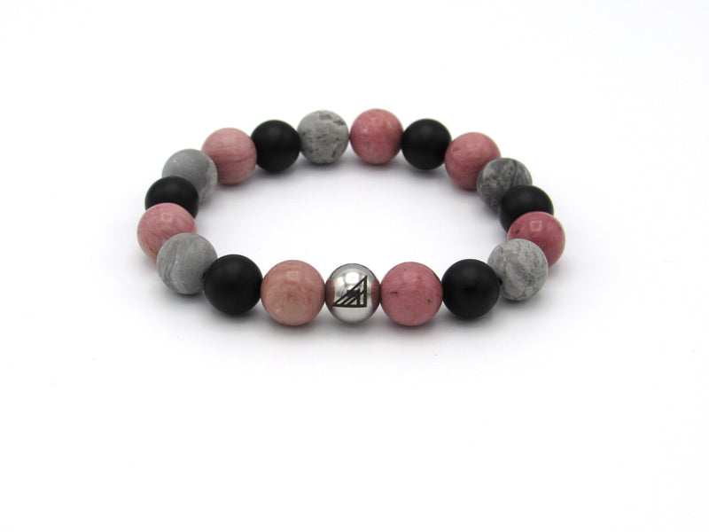 Brync Black Onyx Grey Jasper Pink Men Women Beaded Bracelet Valentines Day
