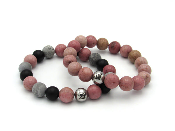 Brync Pink Grey Black Bracelet Couples Set Men Women Beaded Bracelet Valentines
