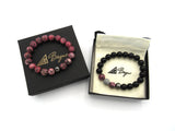 Brync Pink Grey Black Bracelet Couples Set Men Women Beaded Bracelet