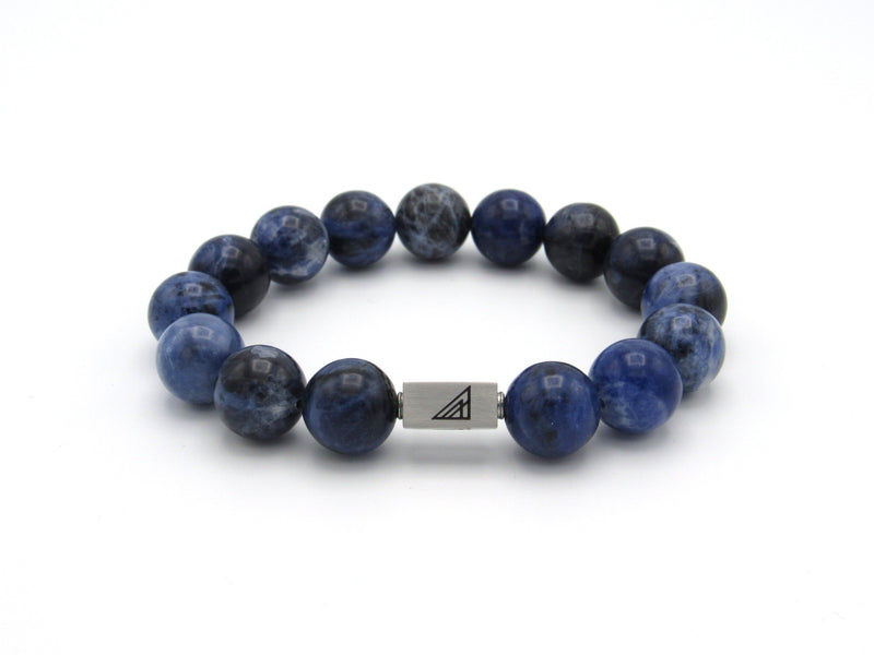 Brync Blue Sodalite Large Men Women Beaded Bracelet 12mm